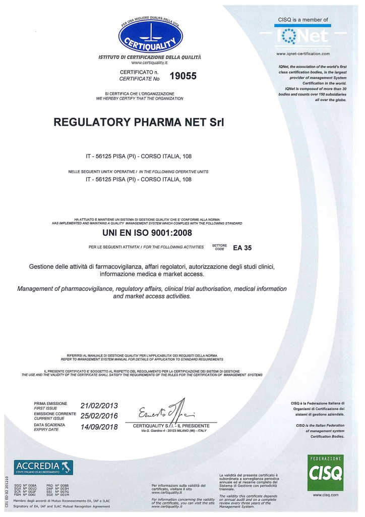 Certificato CISQ_CERTIQUALITY n. 19055