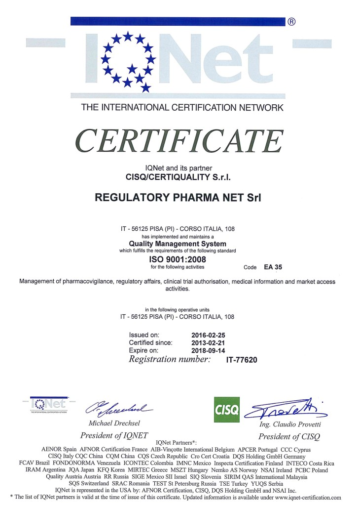 Certificato IQNet n. 77620